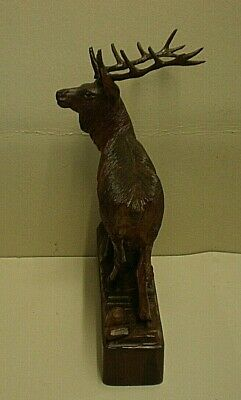 Large Antique Black Forest Stag Swiss Carving Signed 8