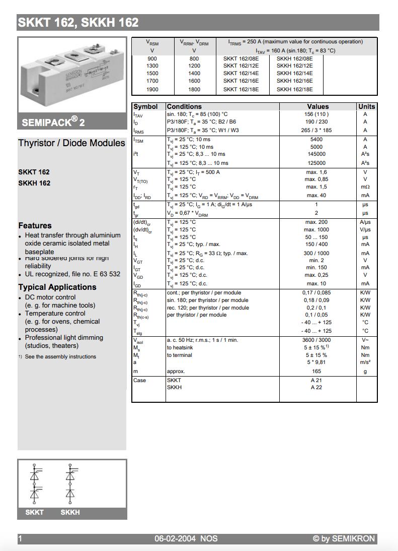 Module de Bonne Qualité /& Meilleur Prix 1PCS SKKH 162//16E Encapsulation
