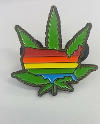 "ALL AMERICAN RAINBOW USA POT DAB  RELIX GRATEFUL DEAD 1 3/4 inch PIN ""EVERYBODY"""