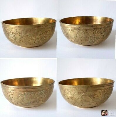 3 Pieces Antique Engraved Brass Egyptian Healing Bowl, Islamic Cup, Wine Cup 9