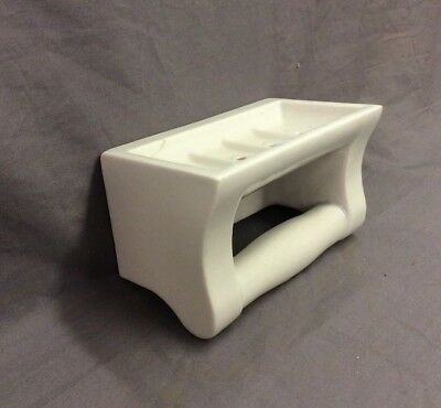 Vtg Ceramic White Porcelain Soap Dish Grab Bar Wall Mount Old Fixture 21-19D 7