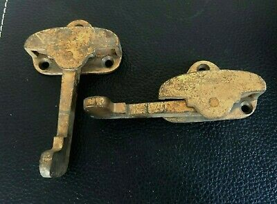 Antique 1900s Cast Brass Victorian Window Sash Lock Latch (2) Rotating Arms 2