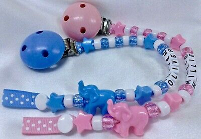 🐘PERSONALISED DUMMY CLIPS 🐘 ELEPHANT 🐘12 Letters 🐘 BUY 2 GET 1 FREE ** 2