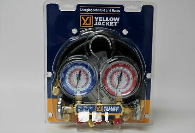 """Yellow Jacket 42044 Heat Pump Charging Manifold with 60"""" Black Plus 1/4"""" Hoses, 6"""