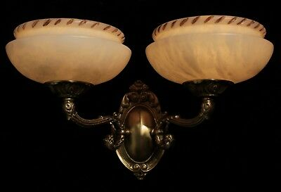 Carved alabaster shades wall lights sconces solid double arms bronze 4