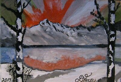 """A809          Acrylic Art Aceo Painting By Ljh      """"Snowy Landscape"""" 12"""