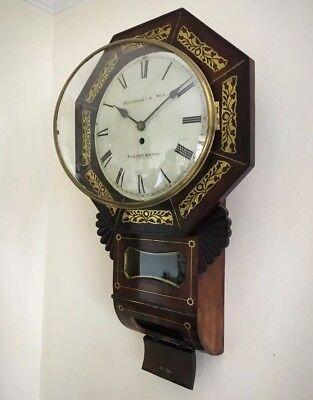 Whitmore Northampton Regency Superb Brass Inlaid Convex Dial Wall Clock 4
