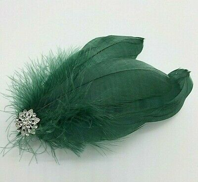 Asst Colour Silver Gem Feather Fascinator Diamante Hair Clip Vintage Style 10