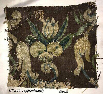 "Antique Verdure Flemish Tapestry Fragment for Throw Pillow, 11"" x 10"", c. 1600s 3"