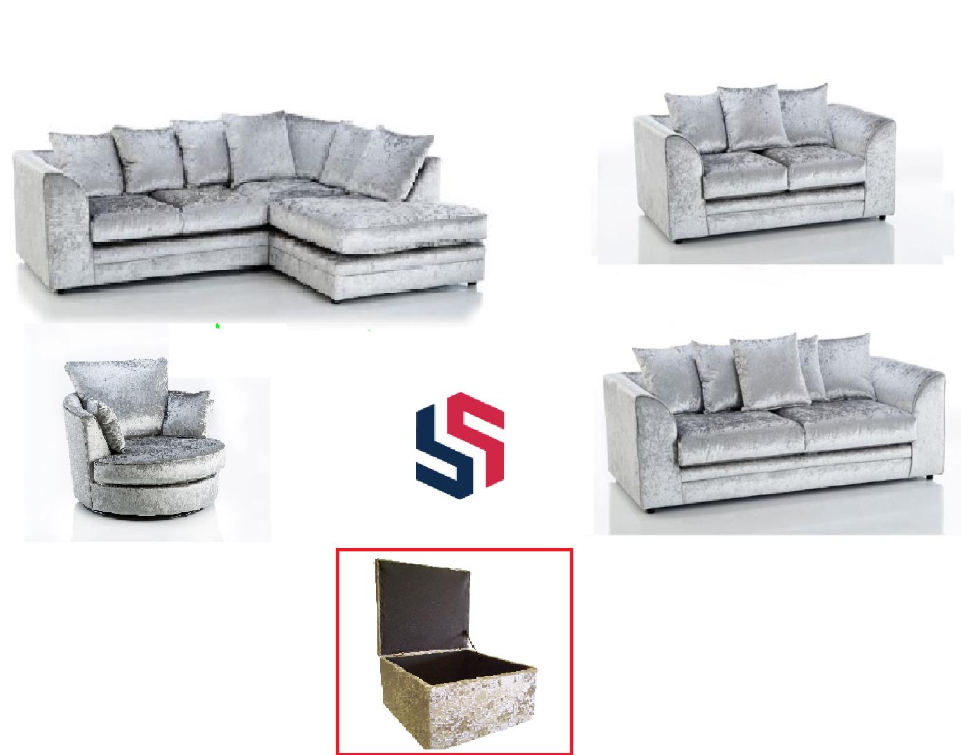 *Sale* Crushed Velvet Silver Original Glitz Chicago Corner Sofa 32 Seater Swivel 3