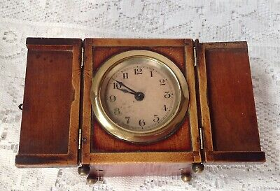 Antique, Unusual Travel, Carriage Clock In Mahogany Casing, Doors To Front 7