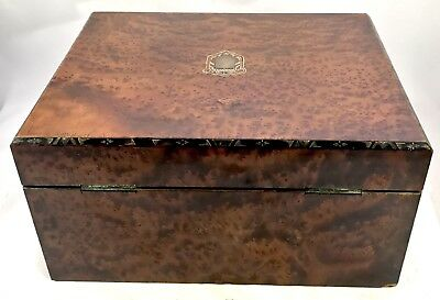 Antique Birds Eye Maple & Mother of Pearl Fitted Writing Box Slope circa 1880 11