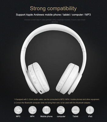 Wireless Bluetooth Headphones Foldable Stereo Earphones Super Bass Headset Mic 4