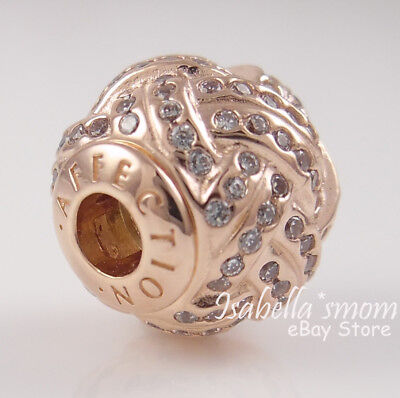 b21172861 ... Essence AFFECTION Genuine PANDORA Rose GOLD Plated/Cz LOVE KNOT Charm/Bead  NEW 3