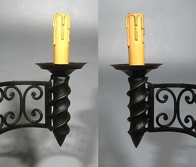 """Large Vintage French Wrought Iron Sconce, """"Chateau"""" Style, 19 x 13 inches"""