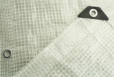 CLEAR REINFORCED TARPAULIN, REINFORCED MESH & EYELETS + accessories available 4