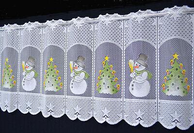Weihnachtsgardine 130 cm breit Schneemann Bistro Küchengardine Tannenbaum Neu
