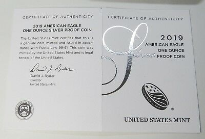 2019-W AMERICAN SILVER EAGLE PROOF w/BOX+COA BRAND NEW ~ ON HAND READY TO SHIP! 9