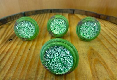 4 GREEN-WHITE LACE GLASS DRAWER CABINET PULLS KNOBS VINTAGE DISTRESSED hardware 2