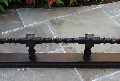 Antique English Oak Barley Twist Fireplace Fender Hearth Surround 5