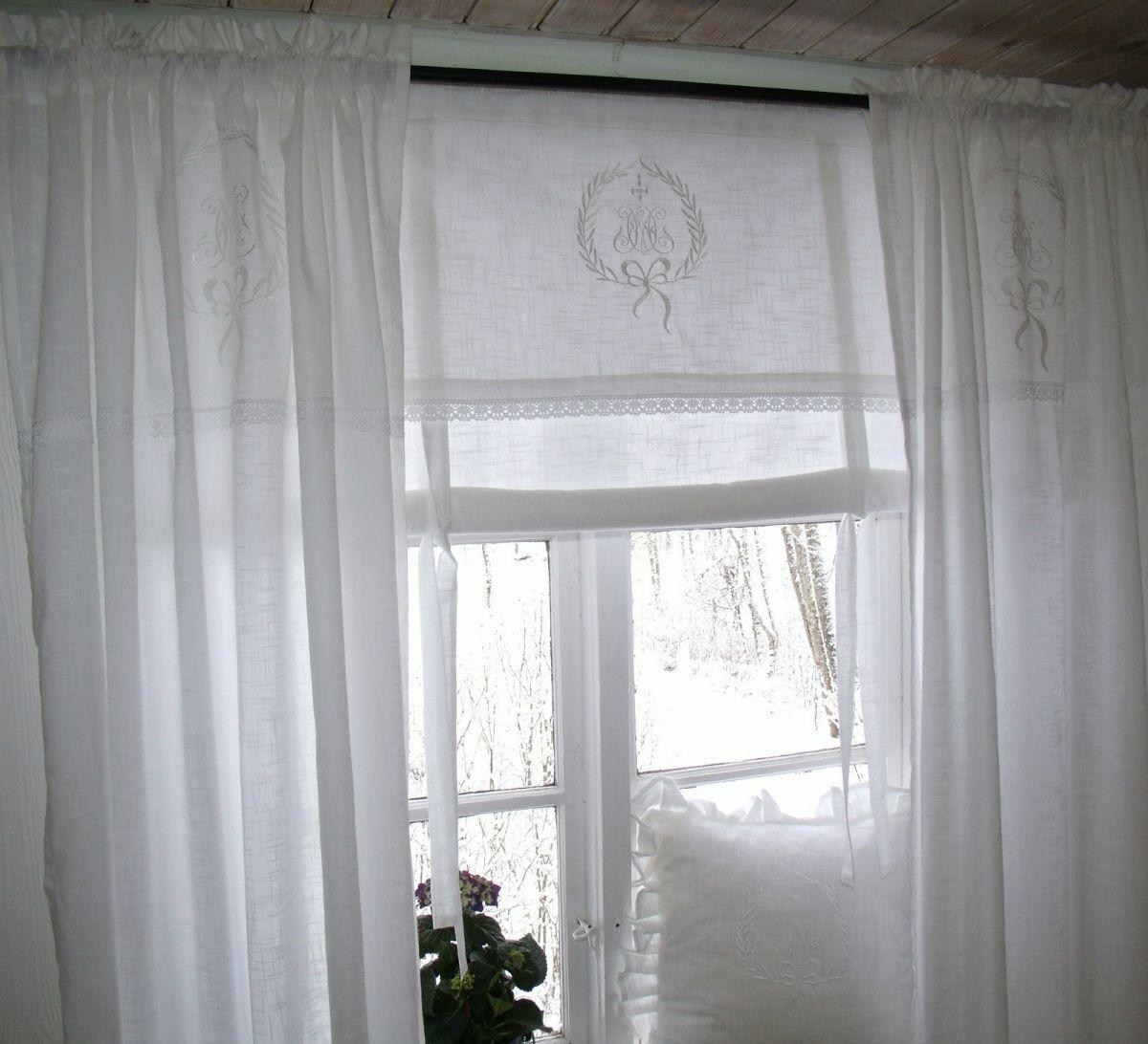 Raff Gardine AMALIE WEISS Rollo 140 X 100 LillaBelle Monogramm Landhaus Shabby 3 Von 11