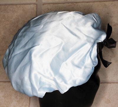 vintage Damen Nacht Mütze Kappe Haube 80er hellblau gebraucht #106