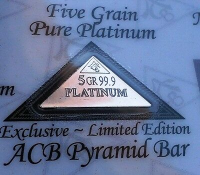 ACB Gold Silver Platinum Palladium 5GRAIN Pyramid 4pk Combo BULLION Bars COAs +