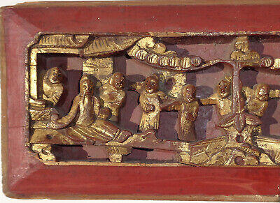 Antique CHINESE figural HIGH RELIEF wood PANEL gold RED 25 inches 3