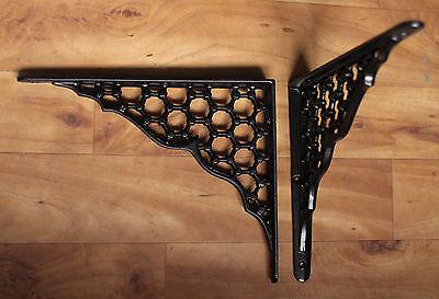 "Pair of 8"" x 10"" LARGE CAST IRON SHELF BRACKETS VICTORIAN HEAVY ANTIQUE BLACK 3"
