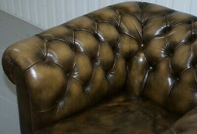 Stunning Pair Of Vintage Chesterfield Leather Club Armchairs Feather Cushions 5