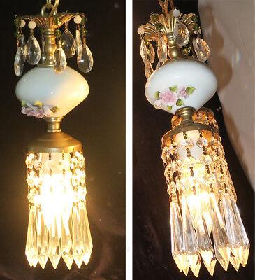 Vintage Capodimonte PInk ROSE porcelain Brass swag lamp chandelier French Apartm 11