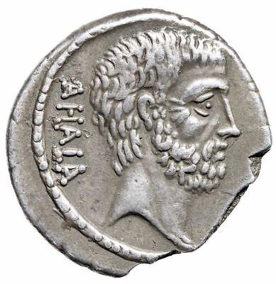 """Q Servilius Caepio M Junius Brutus AR Denarius """"Busts, Ahala"""" Rome 54BC Good VF 2"""