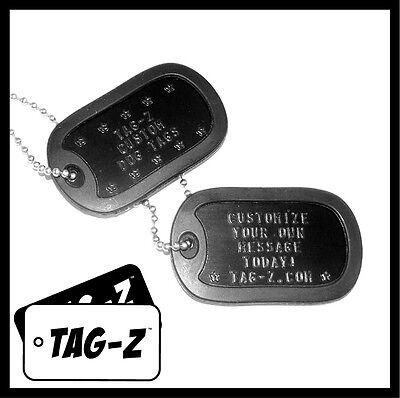 2 Military Dog Tags - Custom Embossed Black - GI Identification w/ Silencers