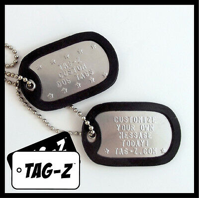 2 Military Dog Tags - Custom Embossed Stainless - GI Identification w/ Silencers 3