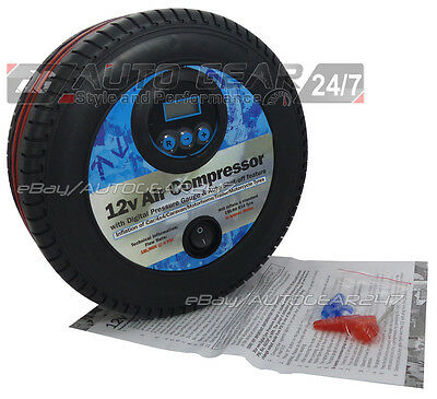 12V Analogue Air Compressor Wheel Tyre Shape Inflator Pump 250psi /& Bar Gauge