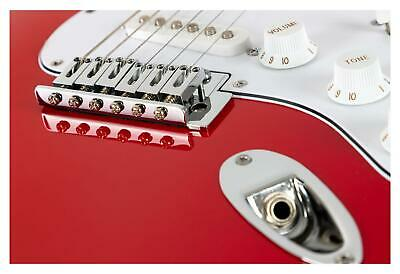 Guitare Electrique Strato ST-Style Single Coil Tremolo 22 Frettes Cutaway Rouge 8