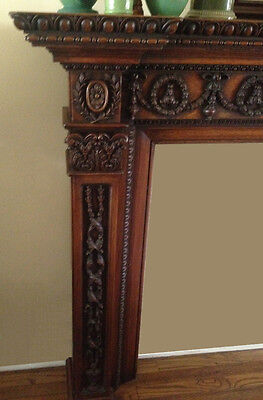 Beautiful Carved Antique Oak Mantel 2