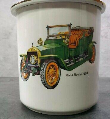 Antiguo Bote Tarro Ceramica coches Rollos Royce 1909 coleccionismo Decoracion 2