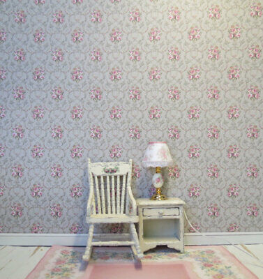 Dollhouse Miniature Shabby Chic Wallpaper Gray Pink Floral Flowers 1:12 Grey 2