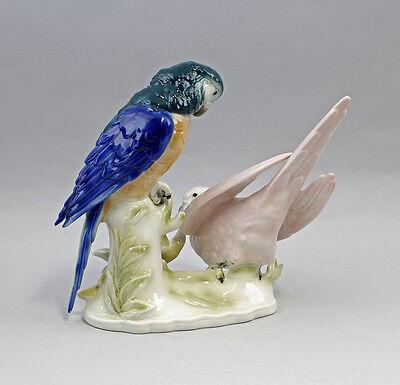 Porzellanfigur Vogel Papagei-Gruppe Wagner&Apel 21x16x21cm 42495