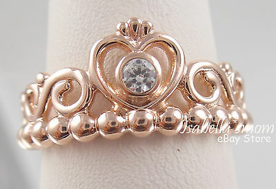 4ba3a4064 ... MY PRINCESS TIARA Genuine PANDORA Rose GOLD Plated~ZIRCONIA Ring Sz 8.5  (58)