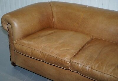 1 Of 2 Vintage Victorian Style Restored Brown Leather Club Sofas Coil Sprung 4