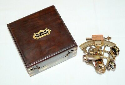 Vintage antique brass j scott london nautical sextant with wooden box gift item 4