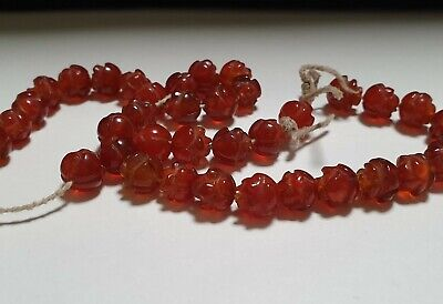 Strand of 39 x Egyptian Red Carnelian Rosettes Amulets 2