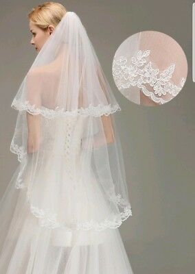 UK White Ivory 2 Tier Fingertip Length Bridal Wedding Veil Lace Edge With Comb 2