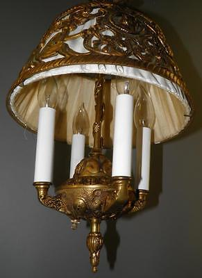 Antique Deco Spanish Egyptian Revival Figural Dragons Chandelier Light Fixture 2