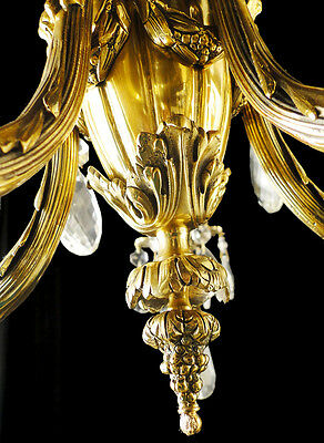 Antique French Louis XV style bronze and glass chandelier 5