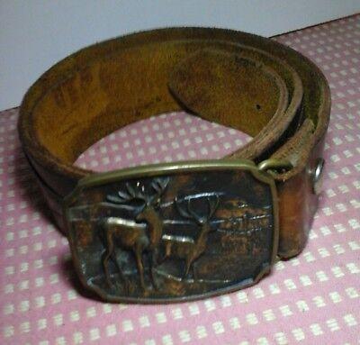 """Vintage Brass Belt Buckle BTS Deer Hunting 1970s with tooled 39"""" leather belt 7"""