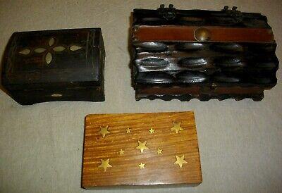 tres joyeros de madera y metal ( vintags) 21- 15 - y 14 ctms largo 2