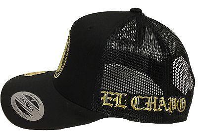 f2c3bdecb86 ... El Chapo Guzman 701 Mexico Hat 4 Logos Black Mesh Snapback Adjustable  New Hat 2